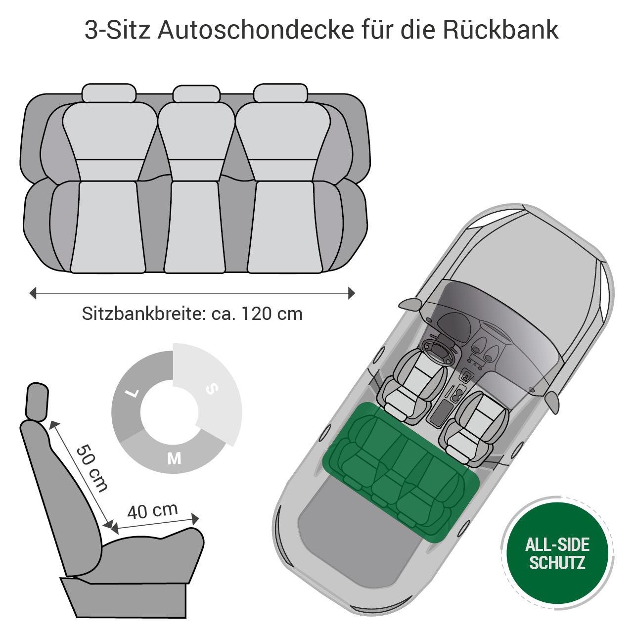 Doctor Bark - Autoschondecke für Hunde - Rückbank 3-Sitz Gr. S - grau