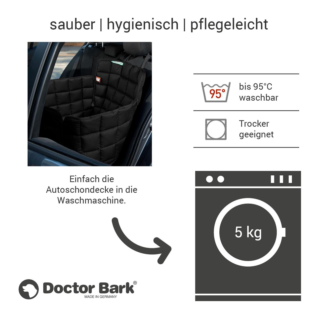 Doctor Bark - Autoschondecke für Hunde - Rückbank 1-Sitz Gr. M - schwarz