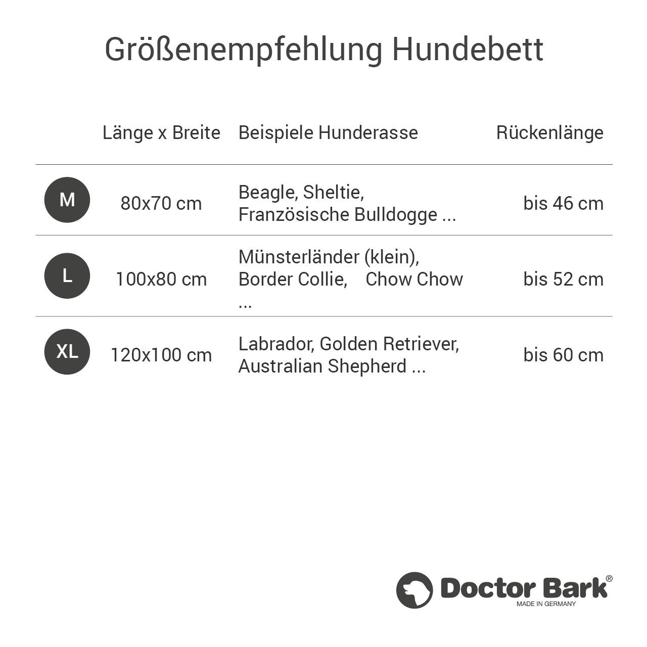 eckiges Doctor Bark Hundebett mit Rand Gr. L - tomate (rot)