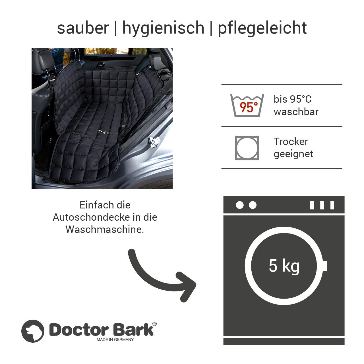 Doctor Bark - Autoschondecke für Hunde - Rückbank 2-Sitz Gr. S - schwarz