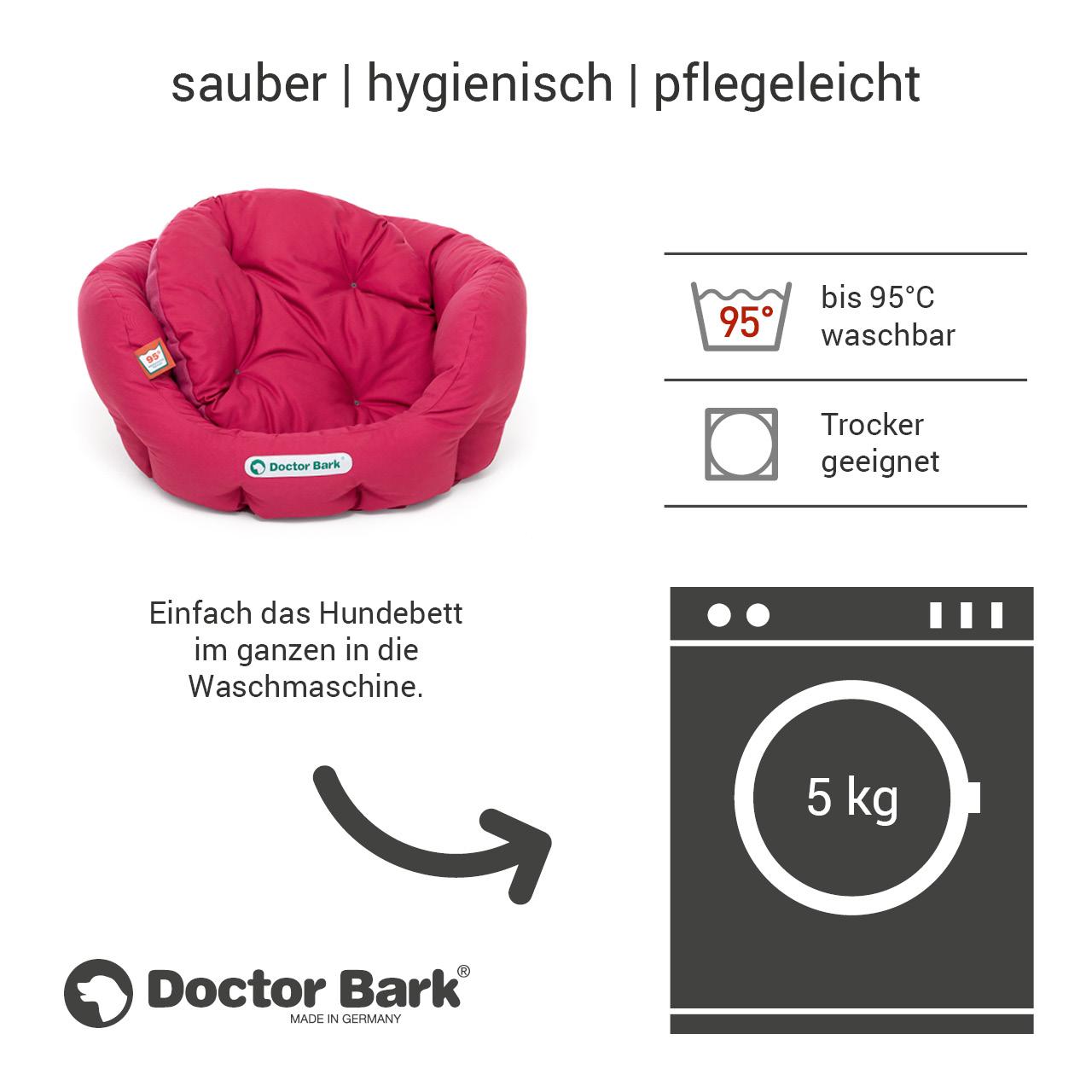 rundes Hundebett mit orthopädischem Wendekissen Doctor Bark Gr. S - hot pink