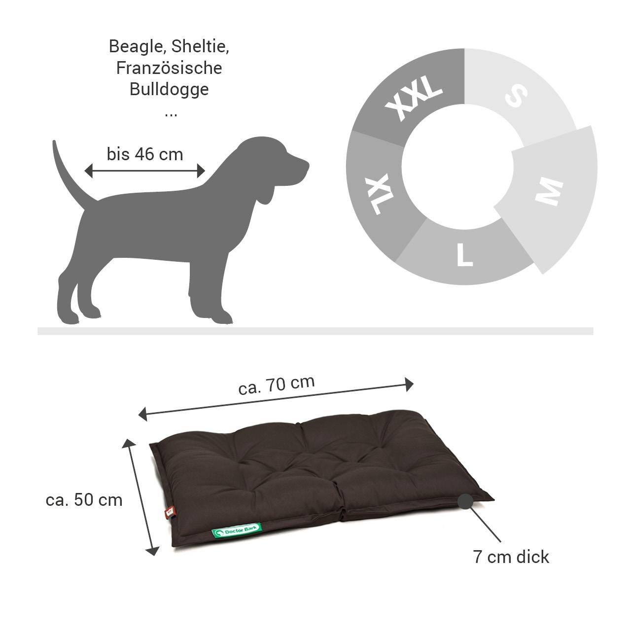 orthopädisches Einlegekissen für Doctor Bark Hundebett Gr. M - braun