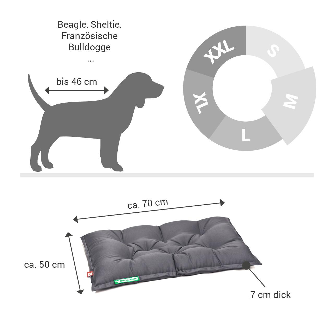 orthopädisches Einlegekissen für Doctor Bark Hundebett Gr. M - grau