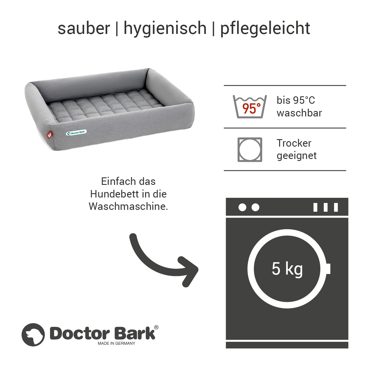 eckiges Doctor Bark Hundebett mit Rand Gr. XL - hellgrau