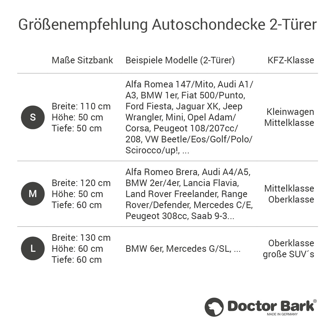 Doctor Bark - Autoschondecke für Hunde - Rückbank 2-Türer / Cabrio Gr. L - braun