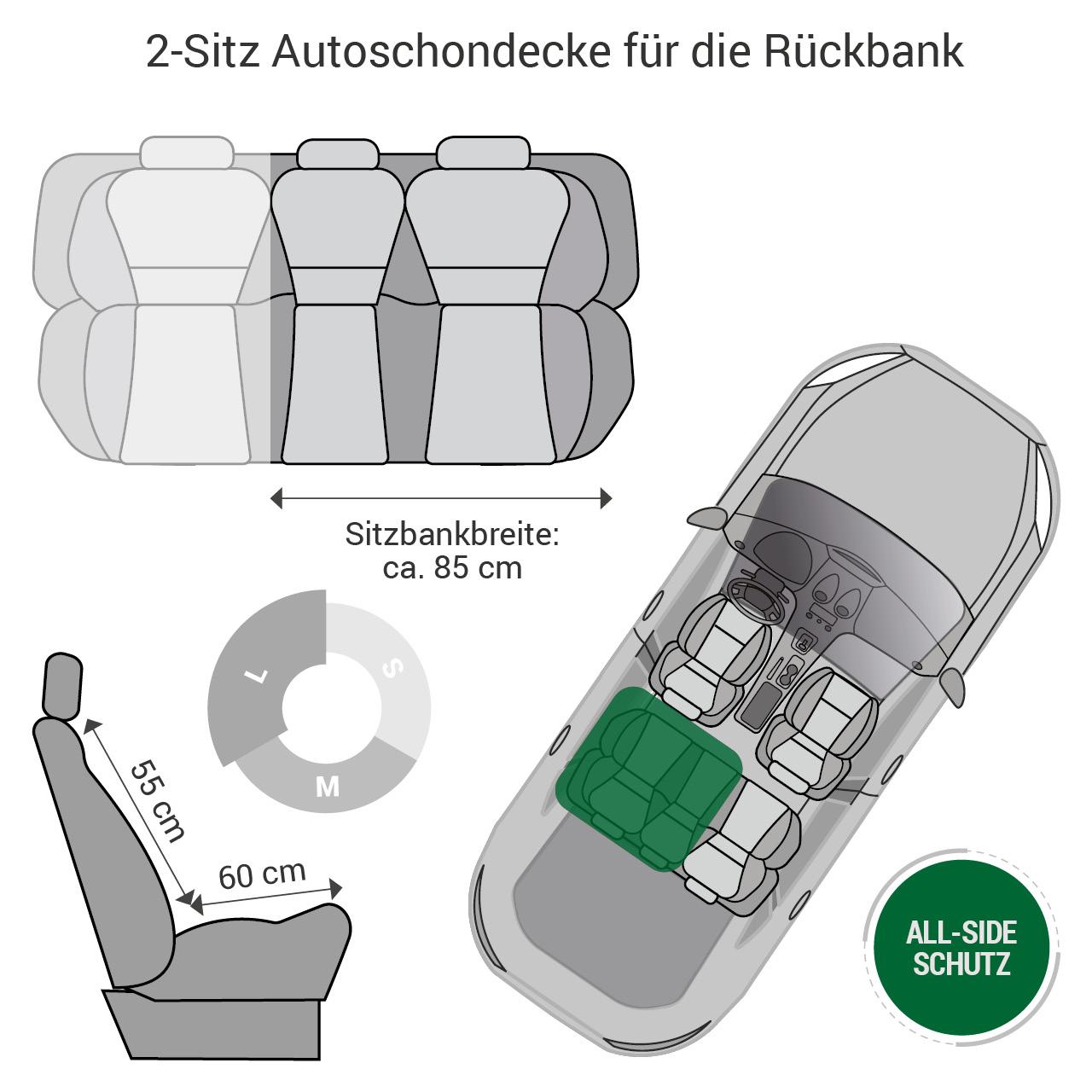 Doctor Bark - Autoschondecke für Hunde - Rückbank 2-Sitz Gr. L - schwarz