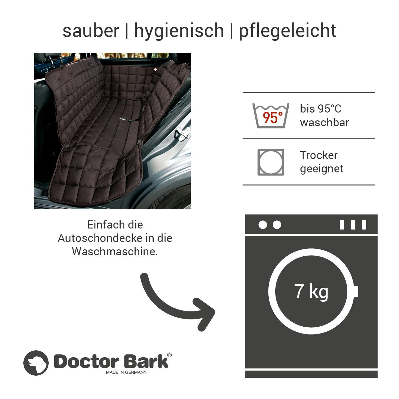 Doctor Bark - Autoschondecke für Hunde - Rückbank 3-Sitz Gr. S - braun