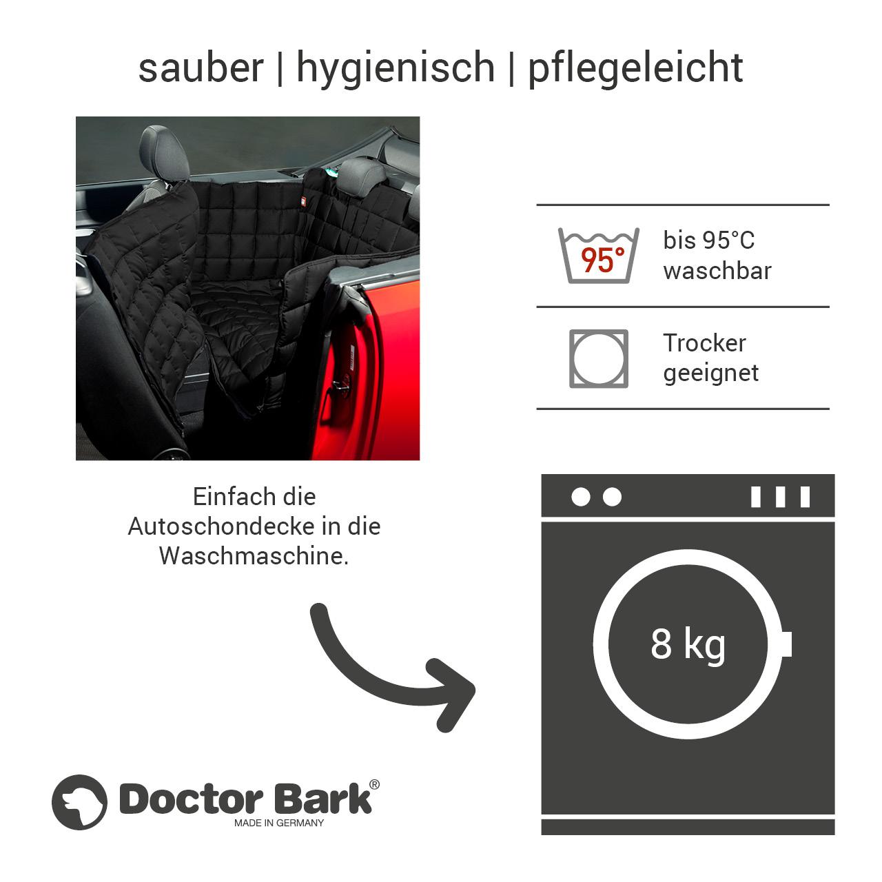Doctor Bark - Autoschondecke für Hunde - Rückbank 2-Türer / Cabrio - schwarz