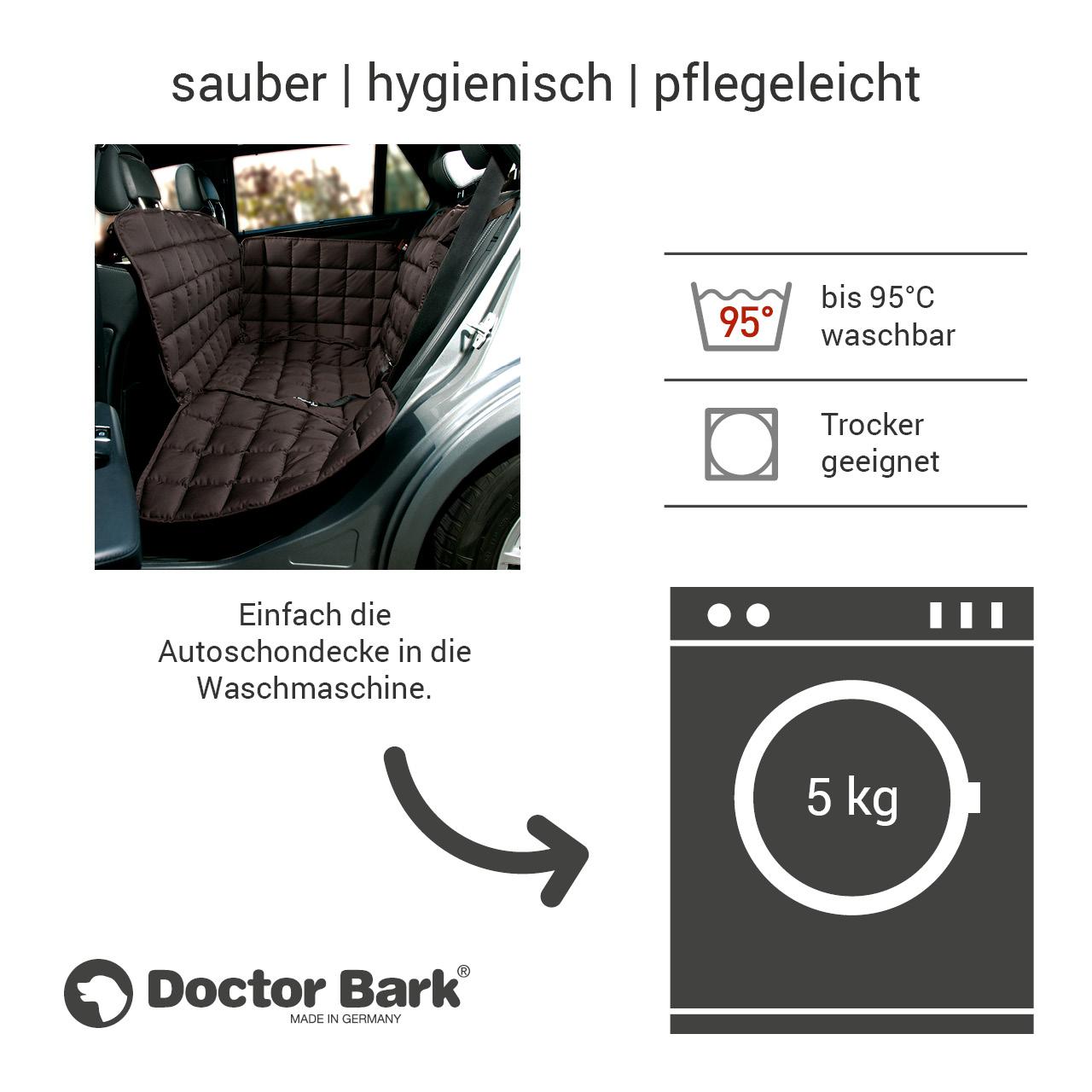 Doctor Bark - Autoschondecke für Hunde - Rückbank 2-Sitz Gr. S - braun