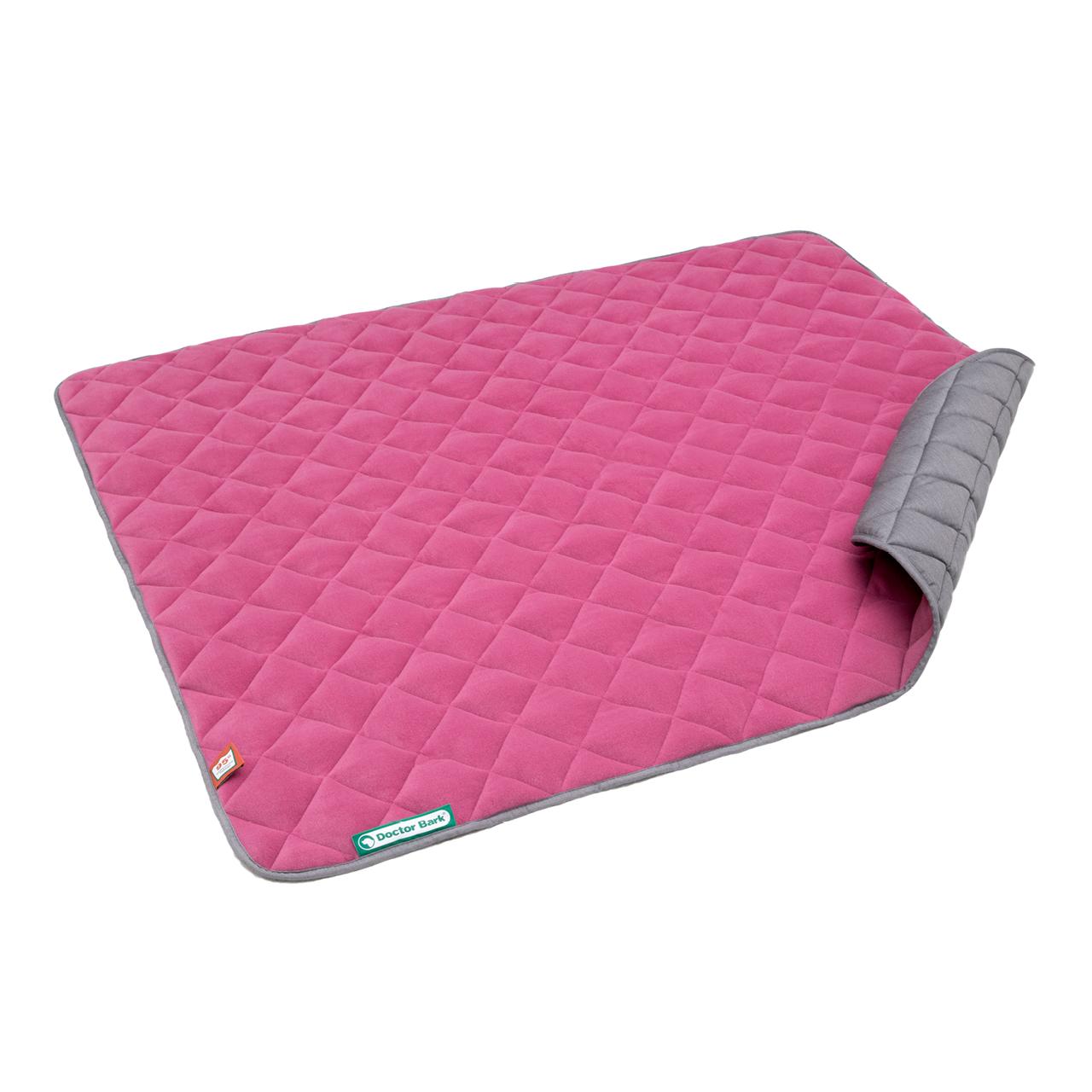 Fleece Steppdecke hot pink - hellgrau XXL