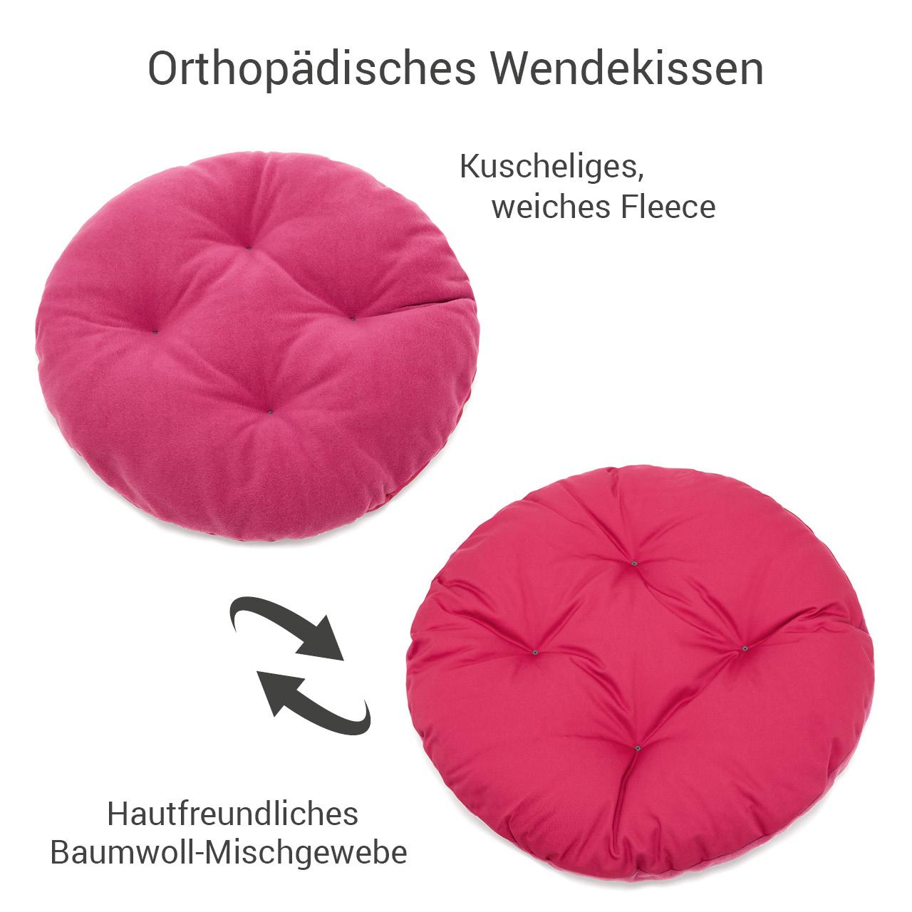 rundes Hundebett mit orthopädischem Wendekissen Doctor Bark Gr. M - hot pink