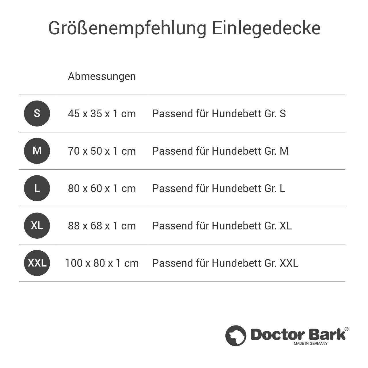gepolsterte Einlegedecke für Doctor Bark Hundebett Gr. S - grau