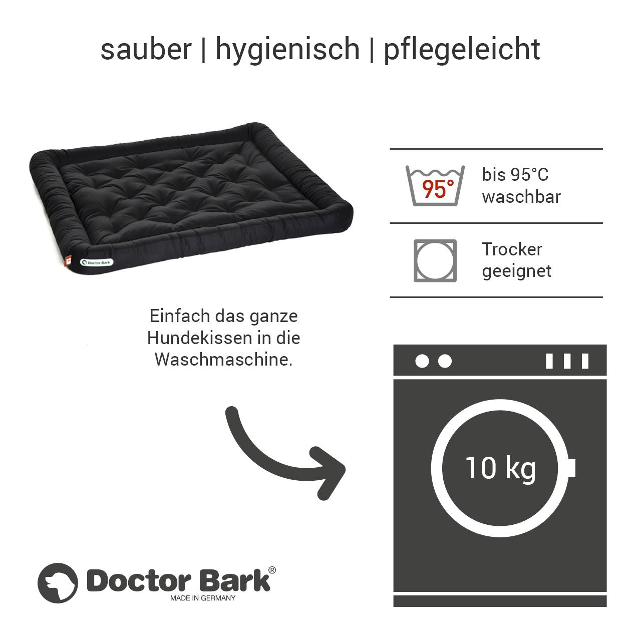 Lounge-Hundekissen / Hundebett orthopädisch Doctor Bark waschbar schwarz - Gr. XXL
