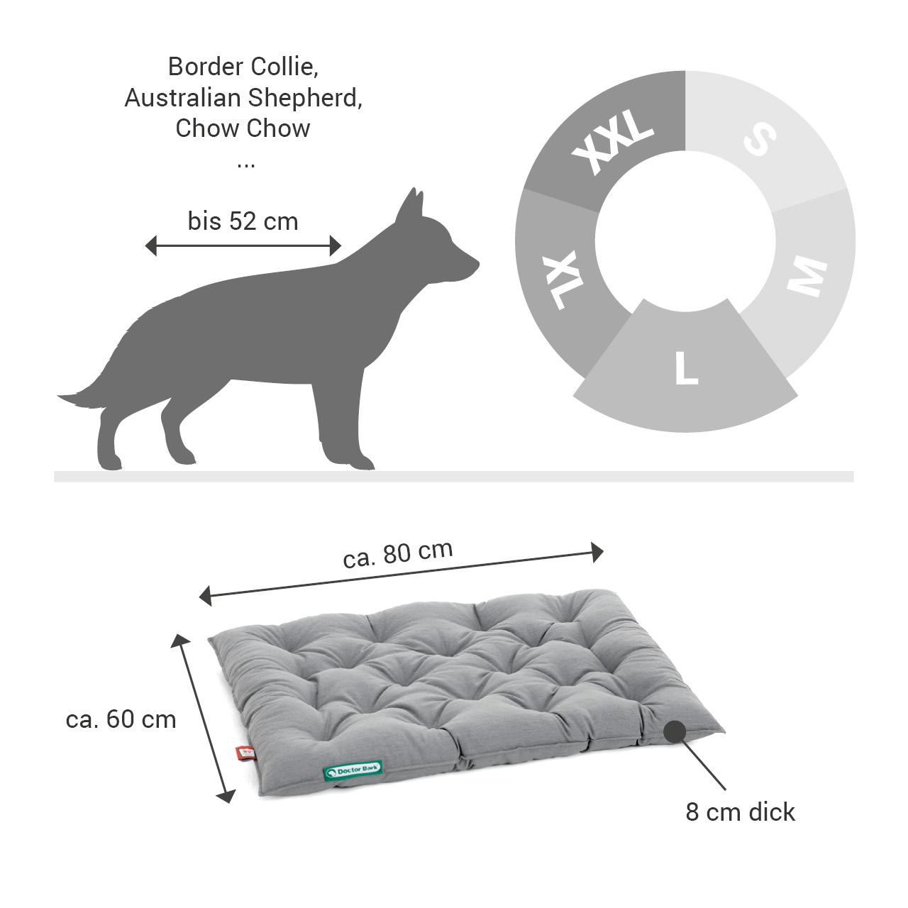 orthopädisches Einlegekissen für Doctor Bark Hundebett Gr. L - hellgrau
