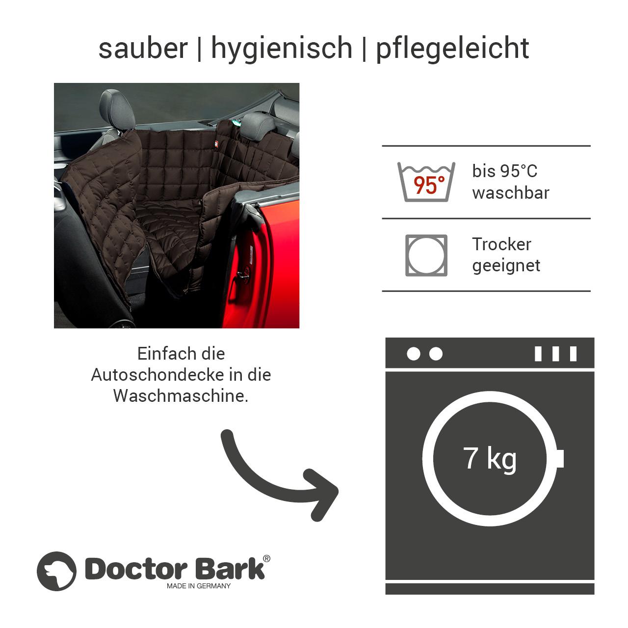 Doctor Bark - Autoschondecke für Hunde - Rückbank 2-Türer / Cabrio Gr. S - braun
