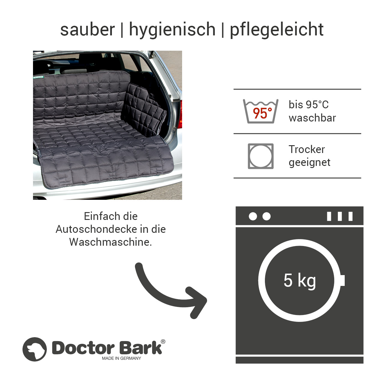 Doctor Bark - Kofferraum Hunde Autoschondecke All-Side Gr. S - grau