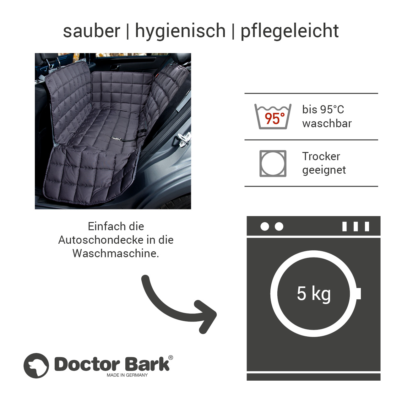 Doctor Bark - Autoschondecke für Hunde - Rückbank 2-Sitz Gr. M - grau