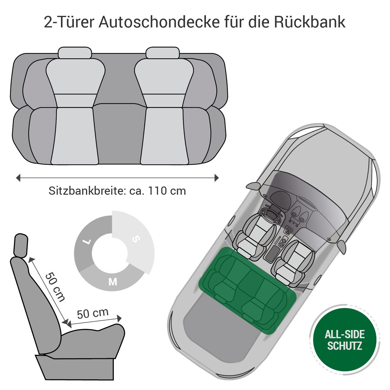 Doctor Bark - Autoschondecke für Hunde - Rückbank 2-Türer / Cabrio Gr. S - schwarz