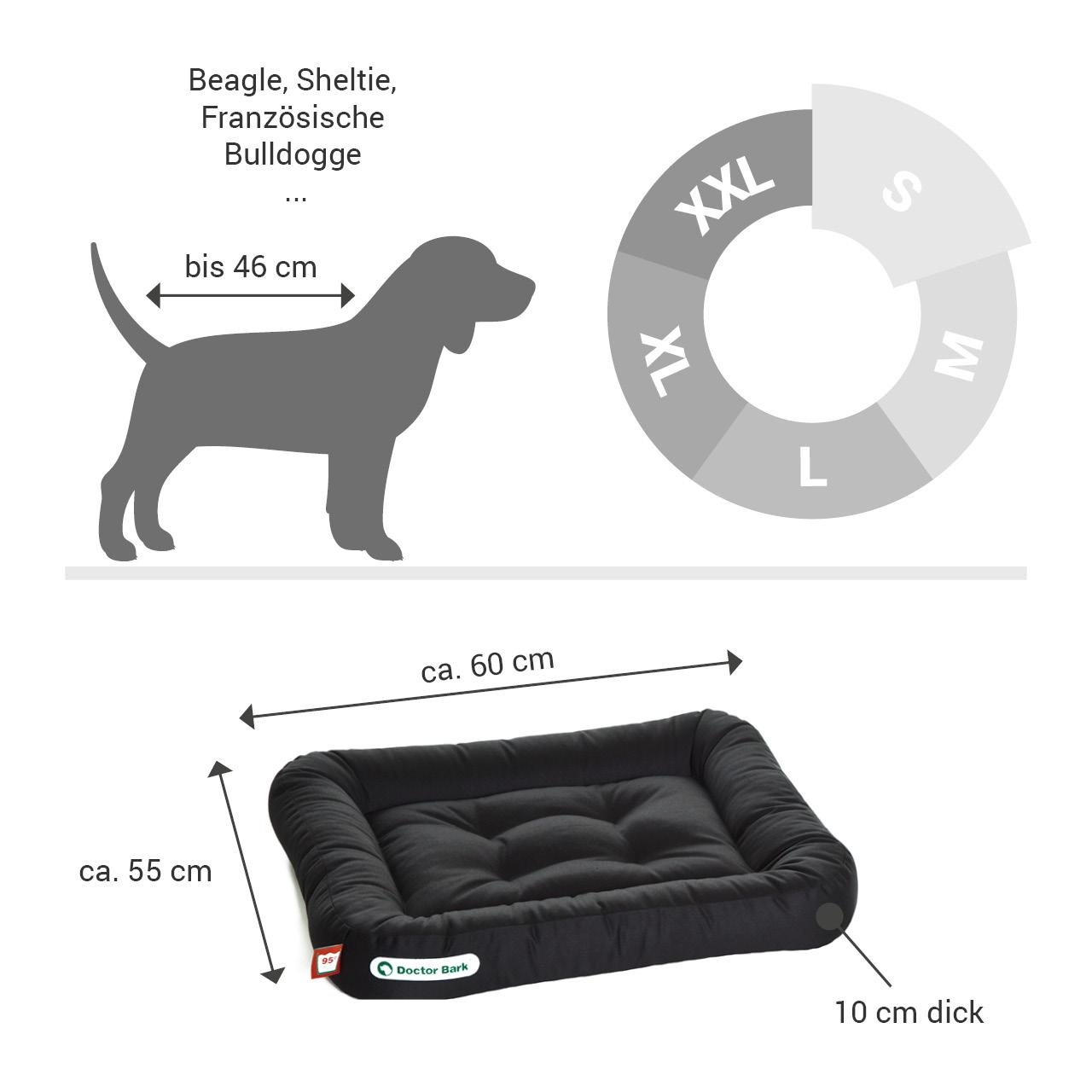 Lounge-Hundekissen / Hundebett orthopädisch Doctor Bark waschbar schwarz - Gr. S