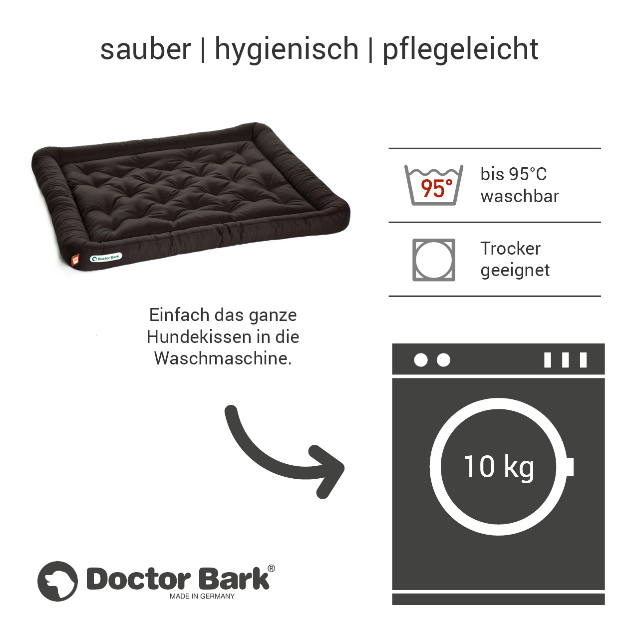 Lounge-Hundekissen / Hundebett orthopädisch Doctor Bark waschbar braun - Gr. XXL