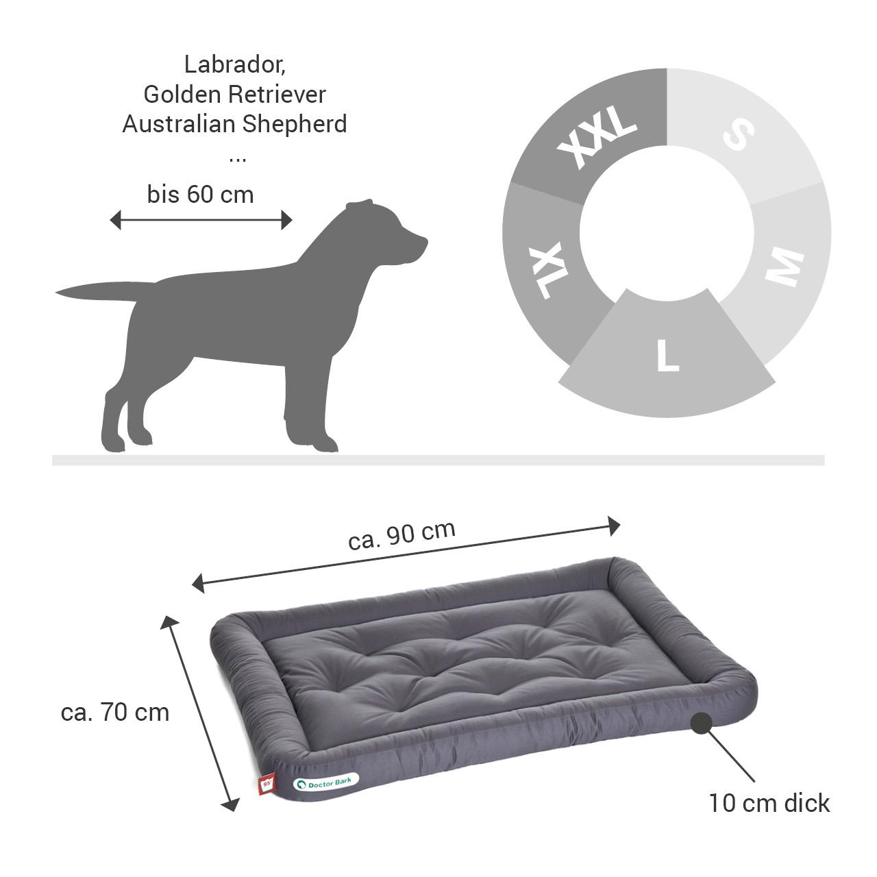 Lounge-Hundekissen / Hundebett orthopädisch Doctor Bark waschbar grau - Gr. L