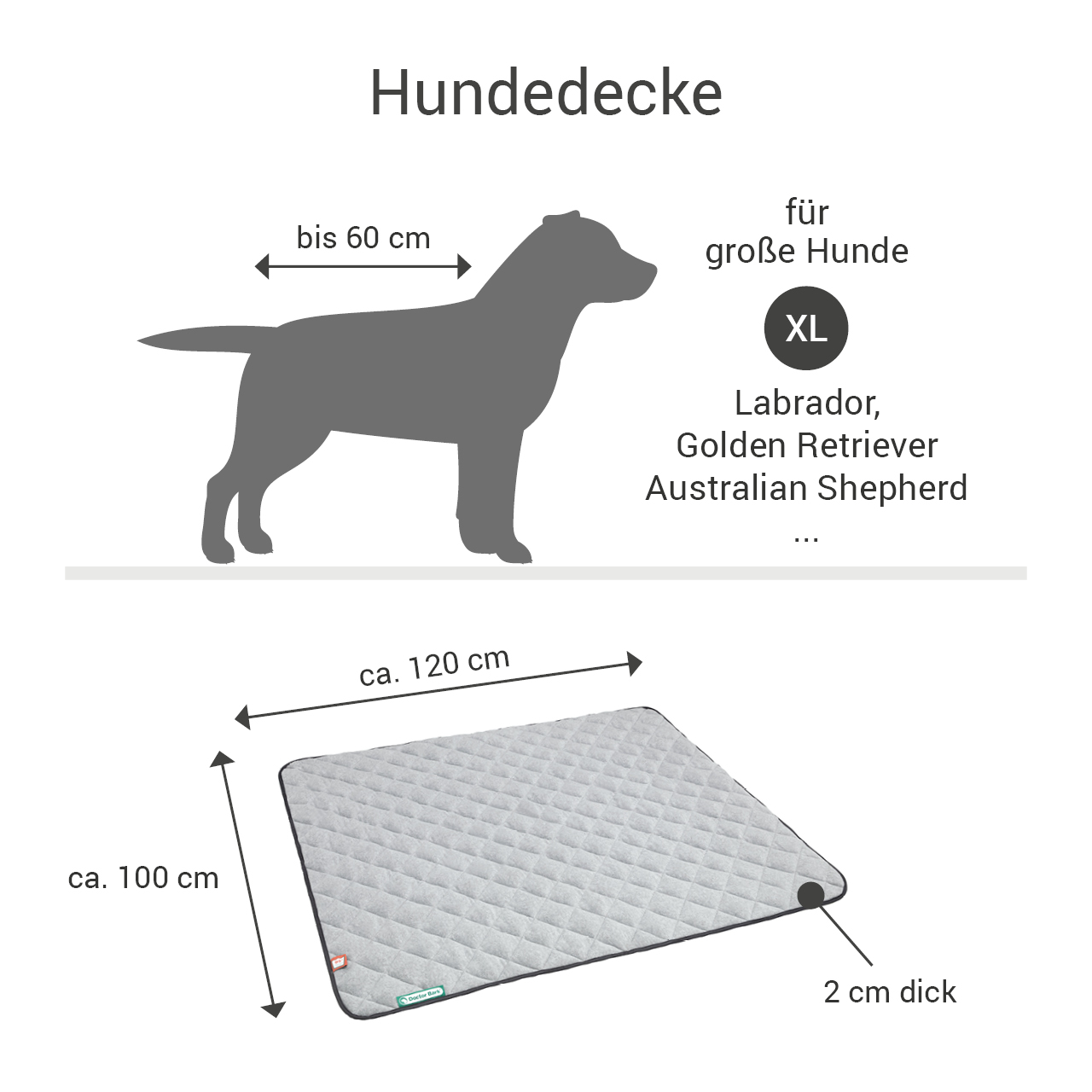 Fleece-Steppdecke grau - waterproof schwarz XL