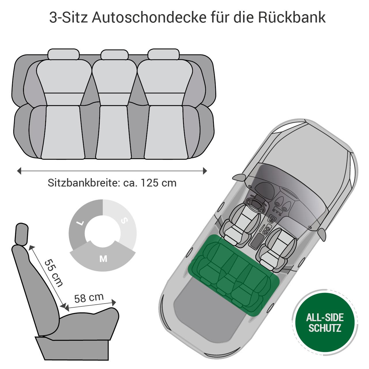 Doctor Bark - Autoschondecke für Hunde - Rückbank 3-Sitz Gr. M - grau
