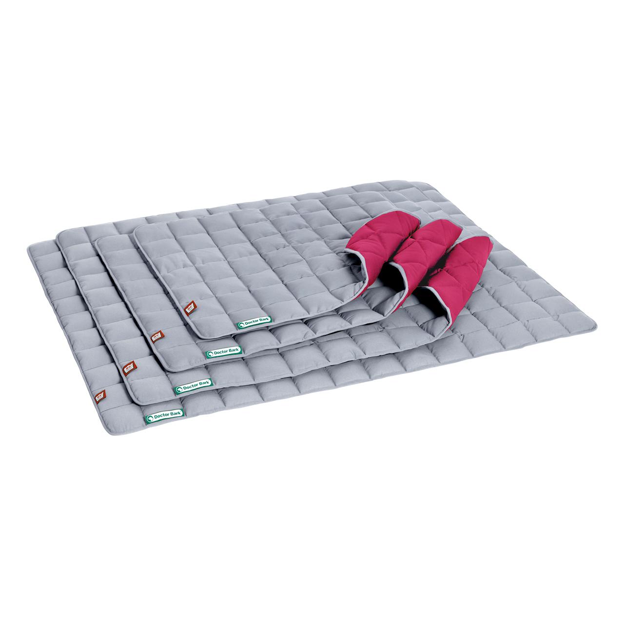 Wende-Steppdecke platingrau - hot pink
