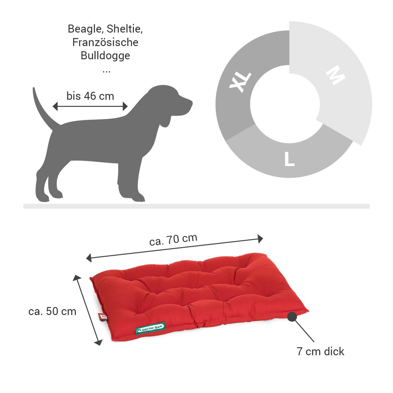 orthopädisches Einlegekissen für Doctor Bark Hundebett Gr. M - tomate rot