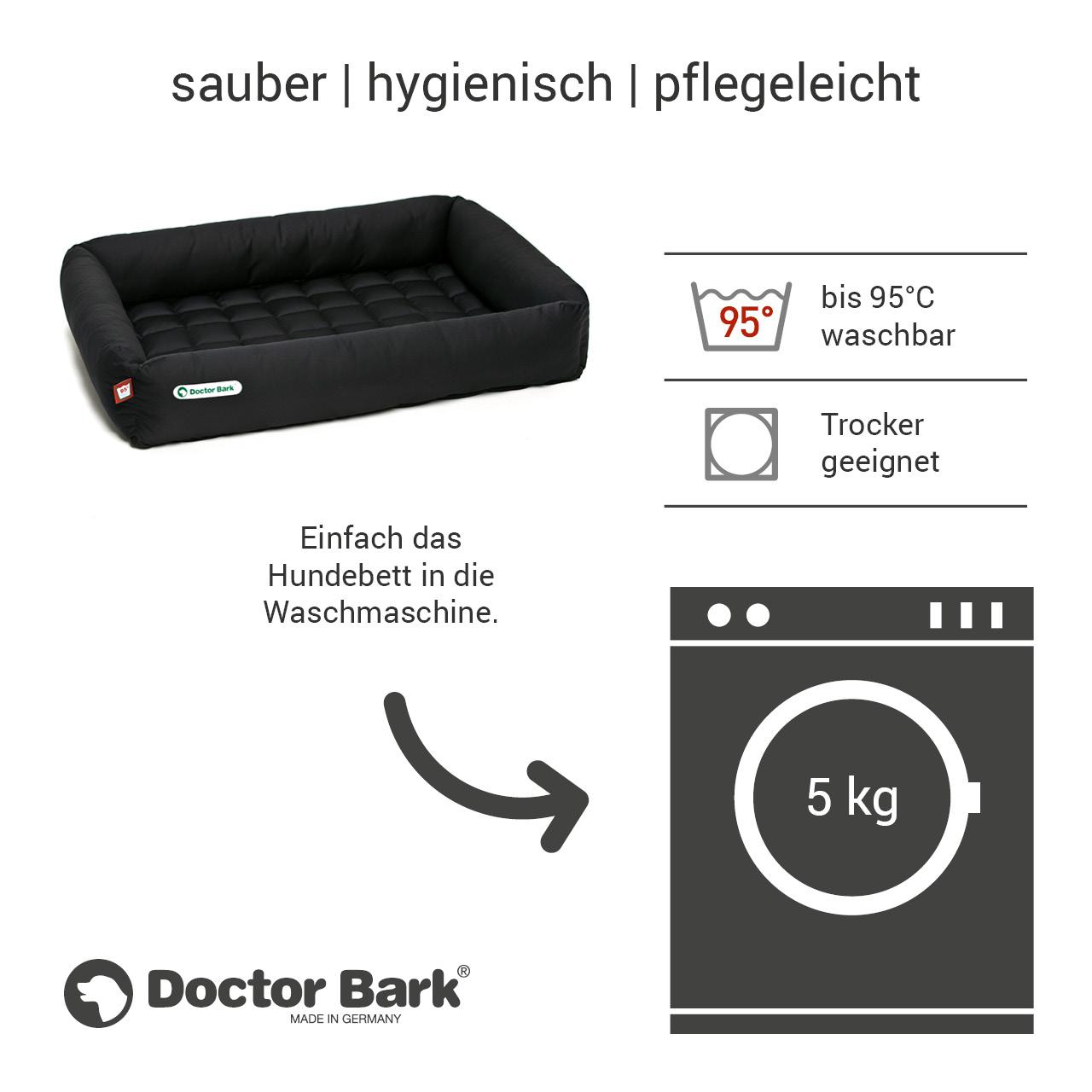 eckiges Doctor Bark Hundebett mit Rand Gr. XL - schwarz