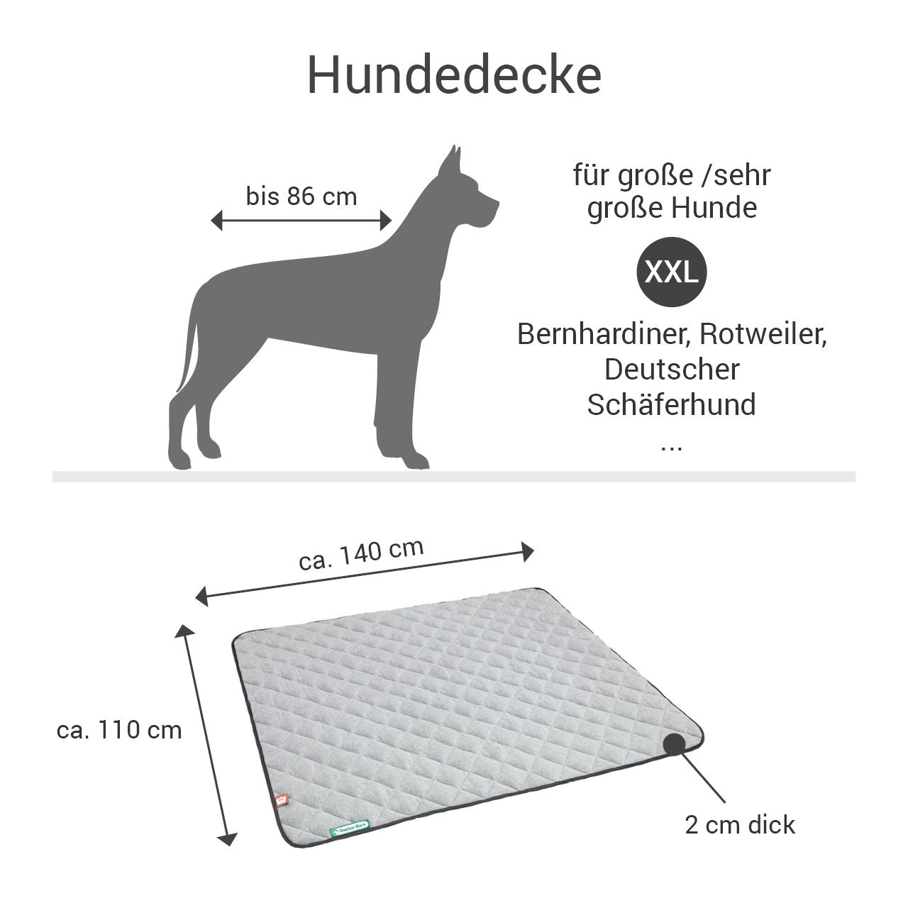 Fleece-Steppdecke grau - waterproof schwarz XXL