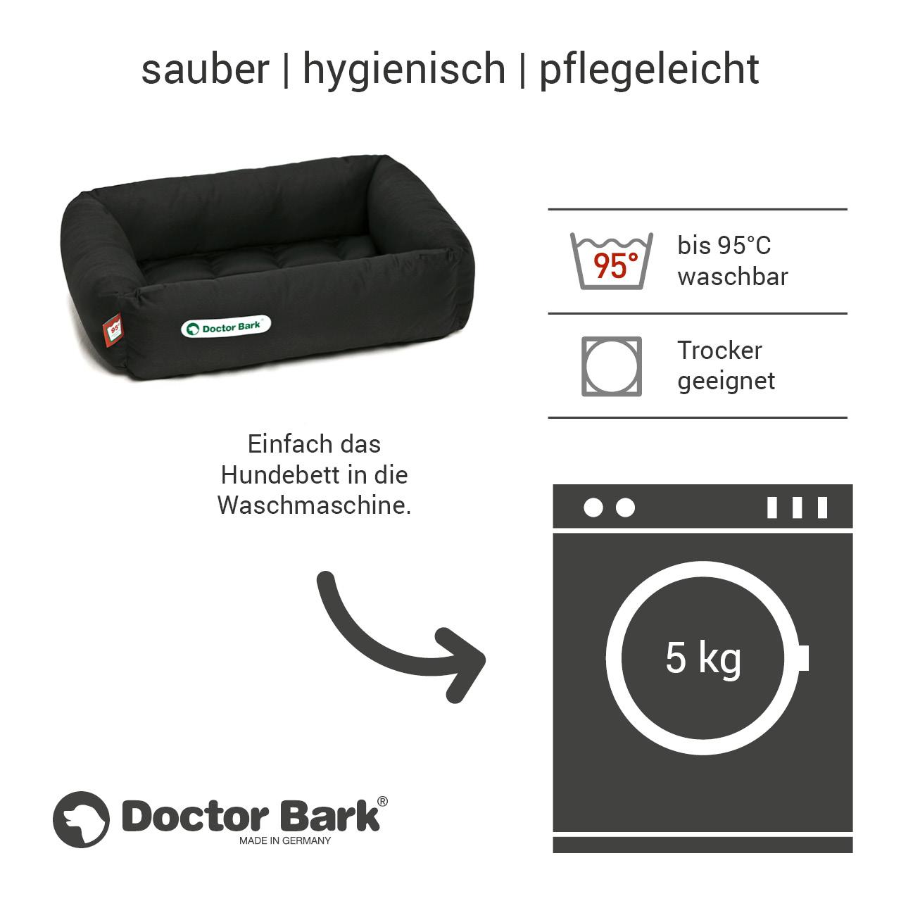 eckiges Doctor Bark Hundebett mit Rand Gr. S - schwarz