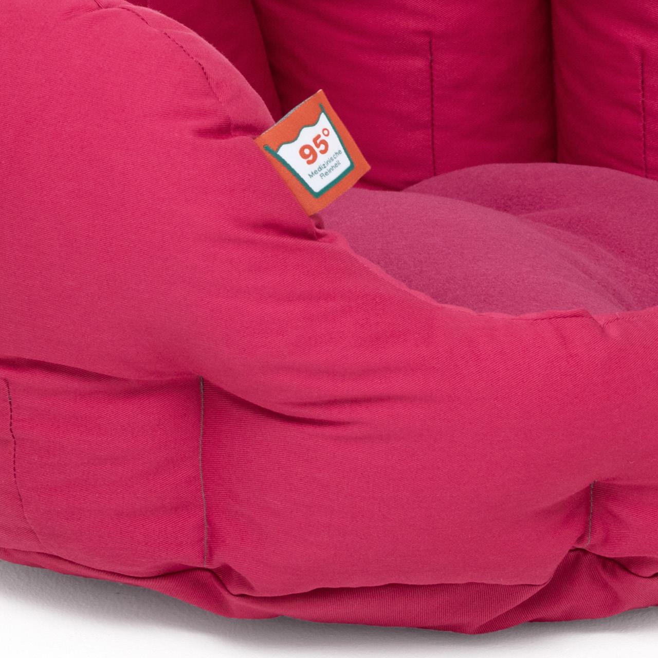 rundes Hundebett mit orthopädischem Wendekissen Doctor Bark - hot pink