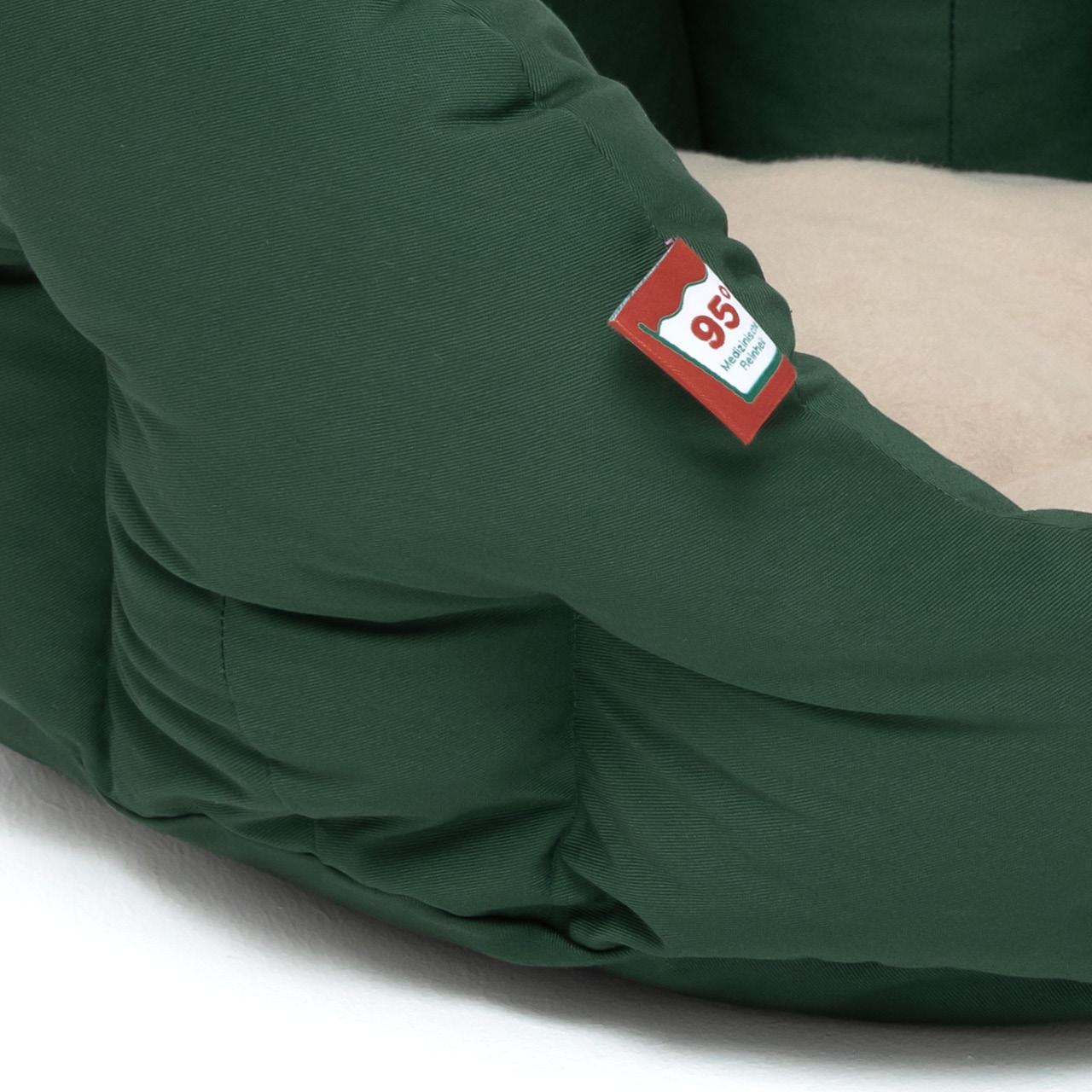 rundes Hundebett mit orthopädischem Wendekissen Doctor Bark - beige-moosgrün