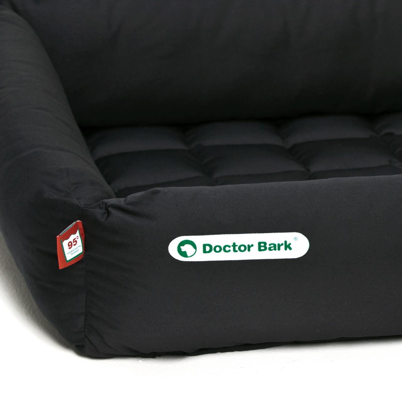 eckiges Doctor Bark Hundebett mit Rand - schwarz
