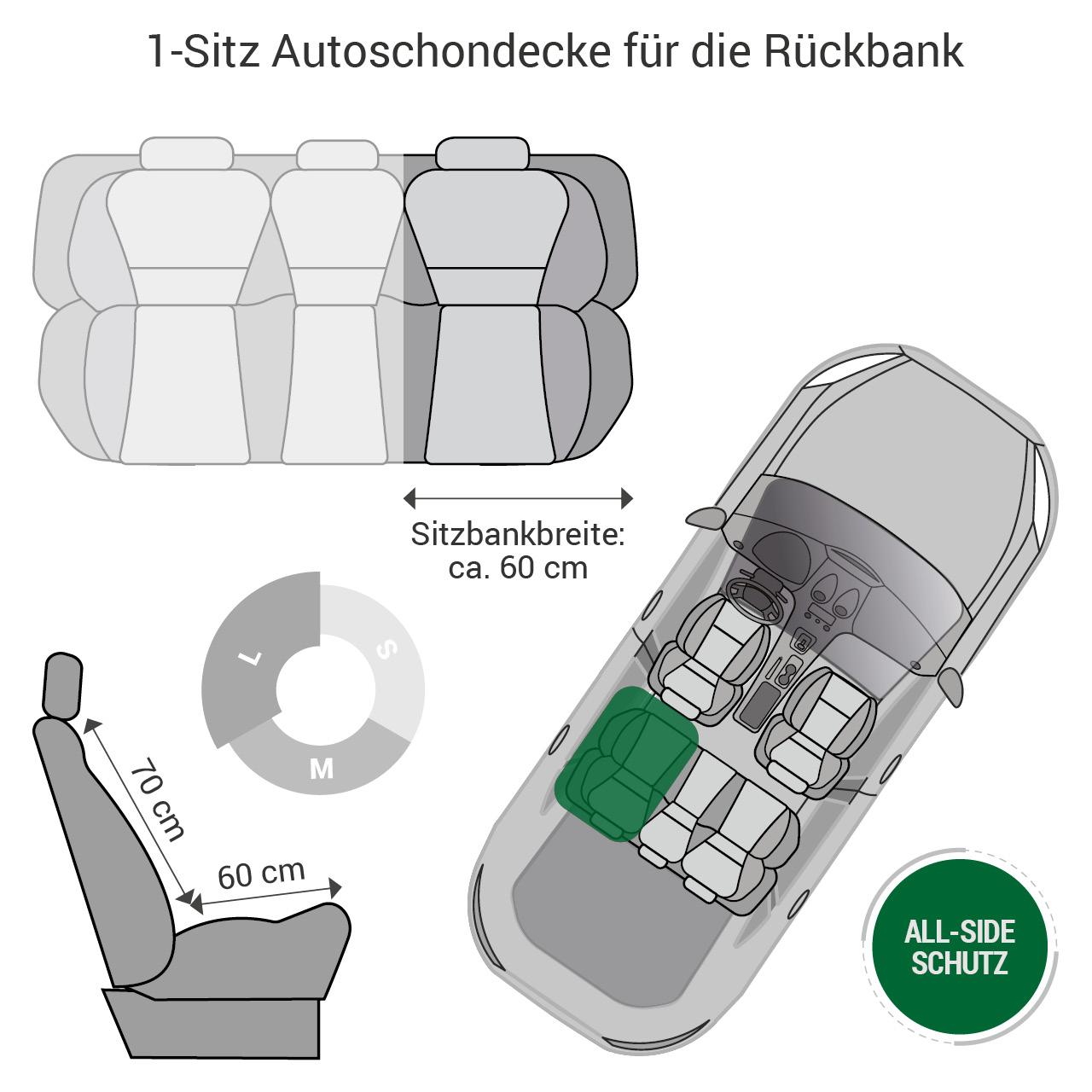 Doctor Bark - Autoschondecke für Hunde - Rückbank 1-Sitz Gr. L - grau