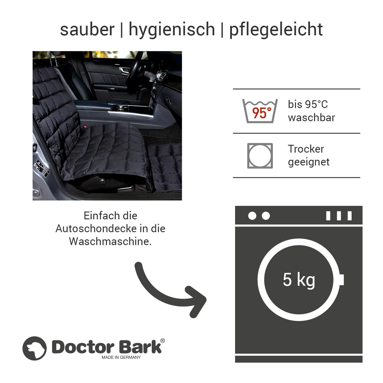 Doctor Bark - Hunde Autoschondecke - Beifahrersitz - schwarz