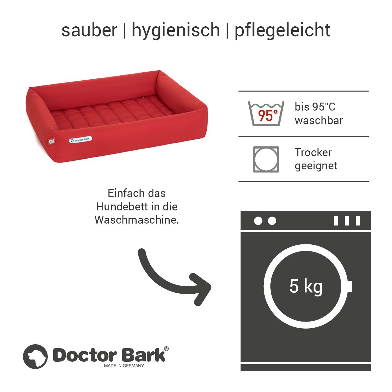 eckiges Doctor Bark Hundebett mit Rand Gr. XL - tomate (rot)