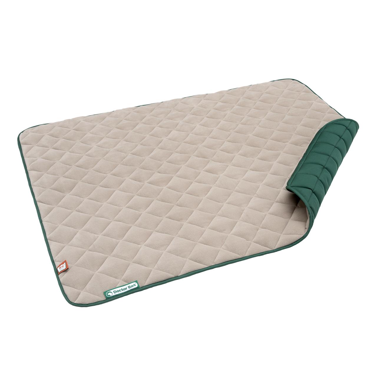 Fleece-Steppdecke beige - moosgrün XL