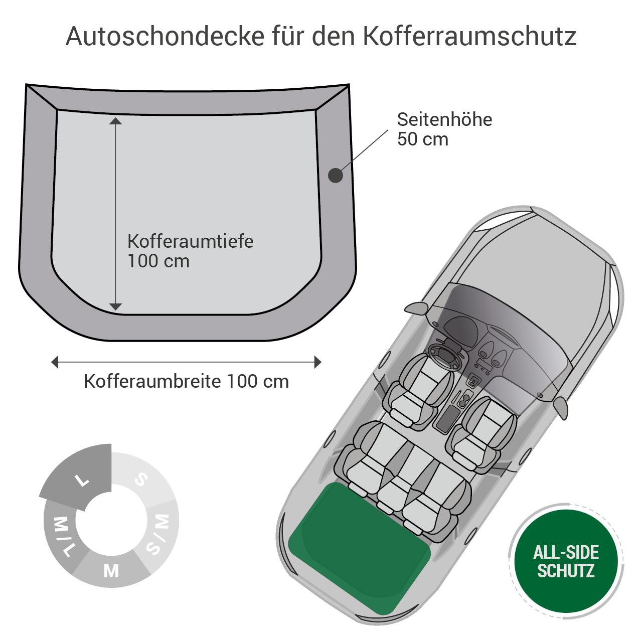 Doctor Bark - Kofferraum Hunde Autoschondecke All-Side Gr. L - braun