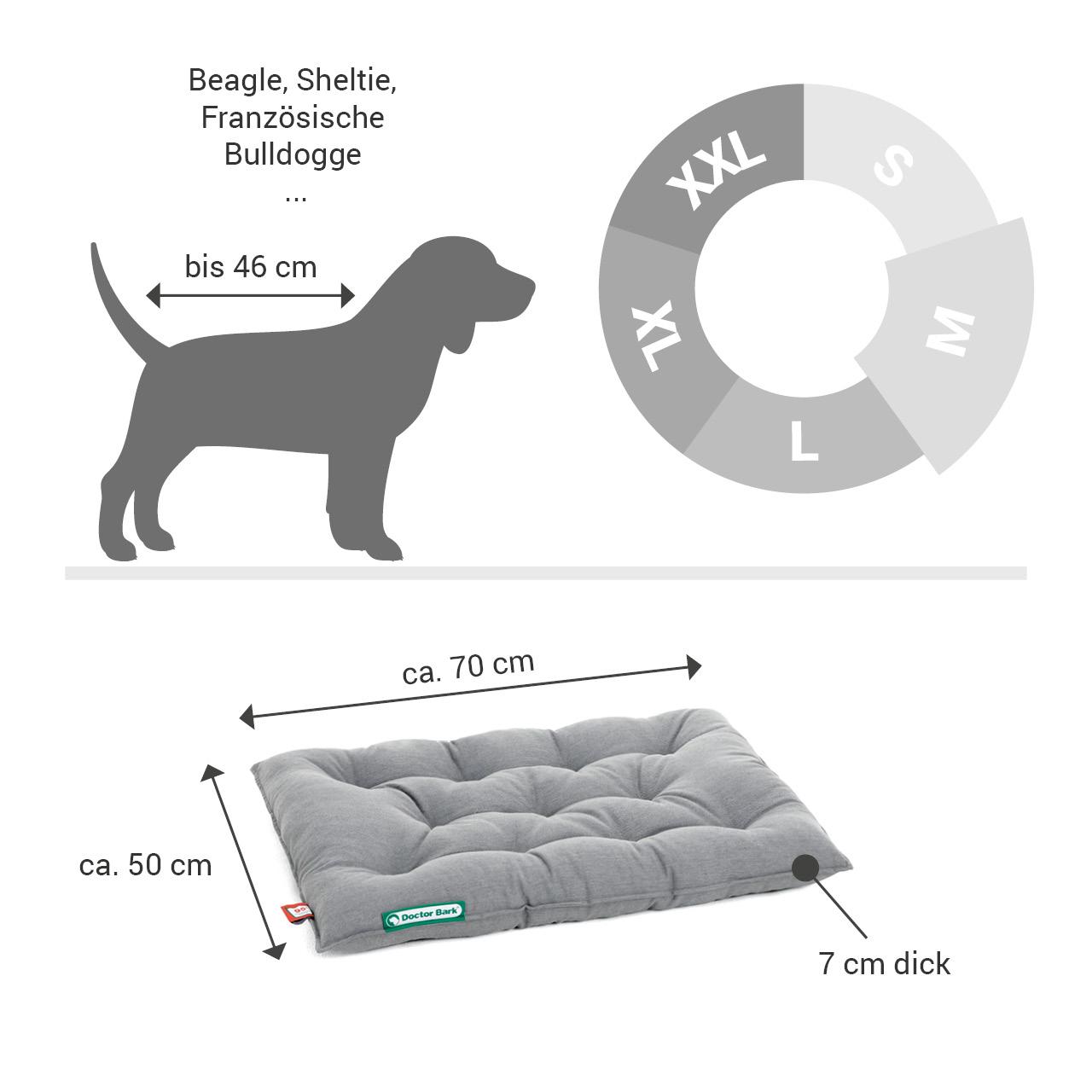orthopädisches Einlegekissen für Doctor Bark Hundebett Gr. M - hellgrau