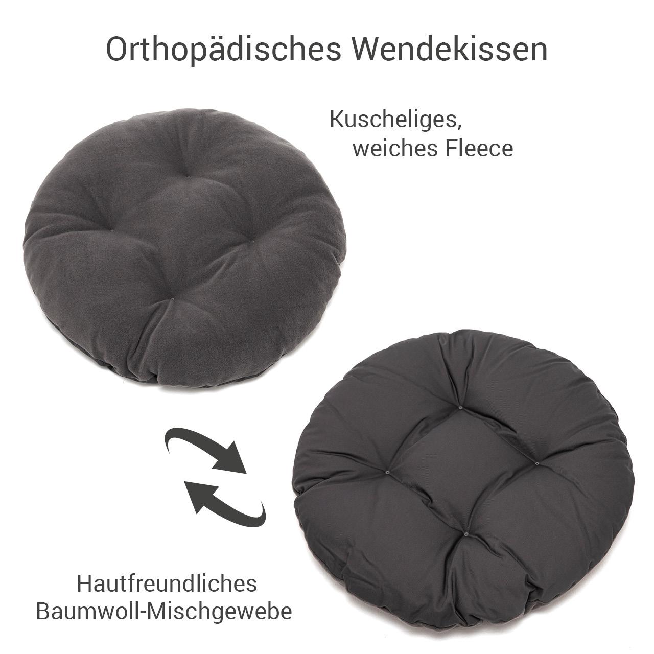rundes Hundebett mit orthopädischem Wendekissen Doctor Bark Gr. M - grau