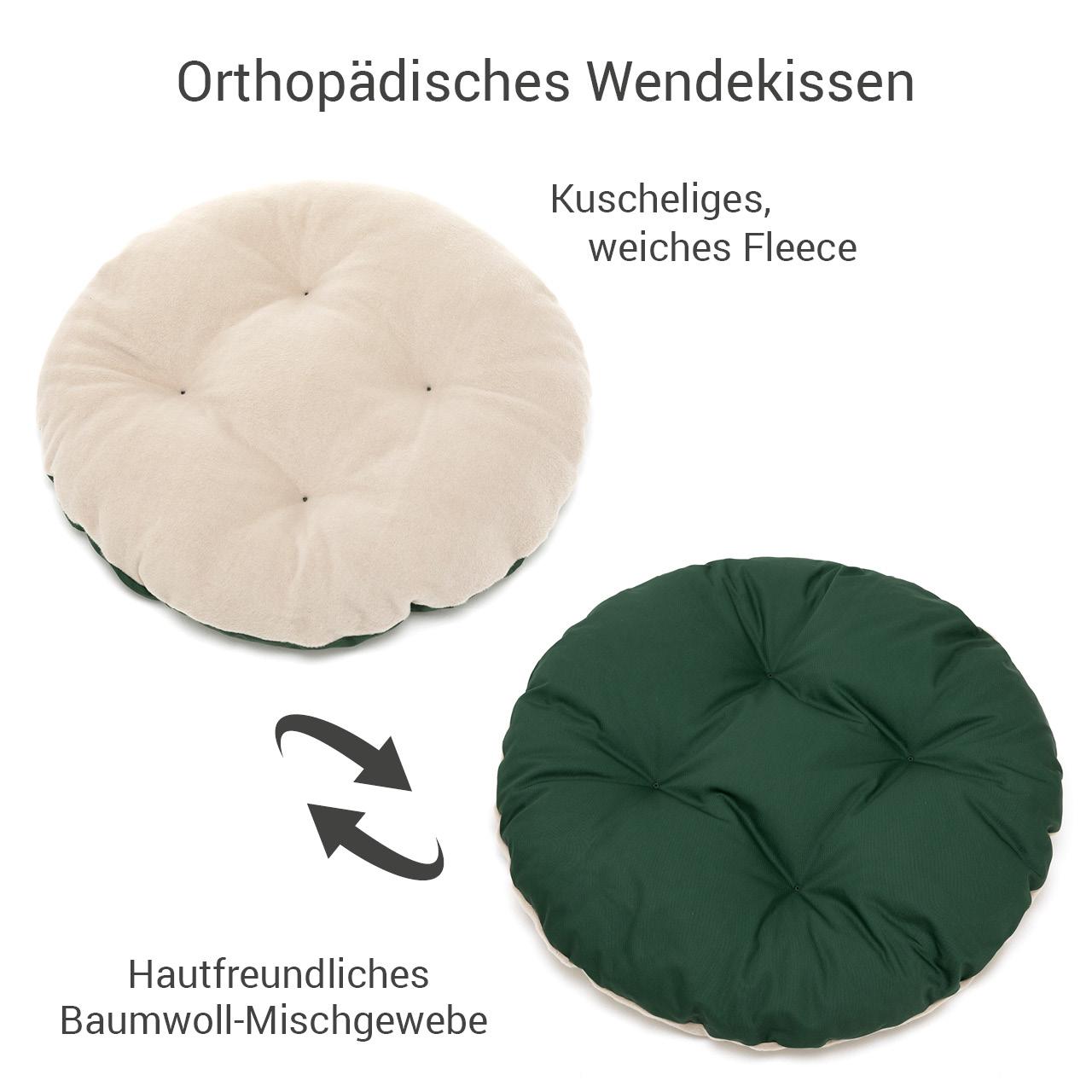 rundes Hundebett mit orthopädischem Wendekissen Doctor Bark Gr. M - beige-moosgrün