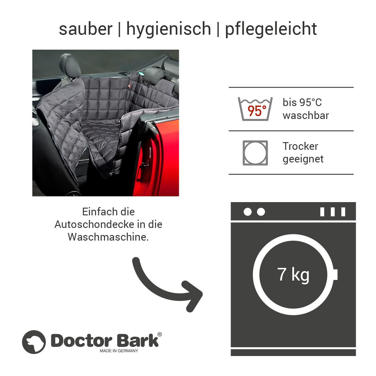 Doctor Bark - Autoschondecke für Hunde - Rückbank 2-Türer / Cabrio Gr. M - grau