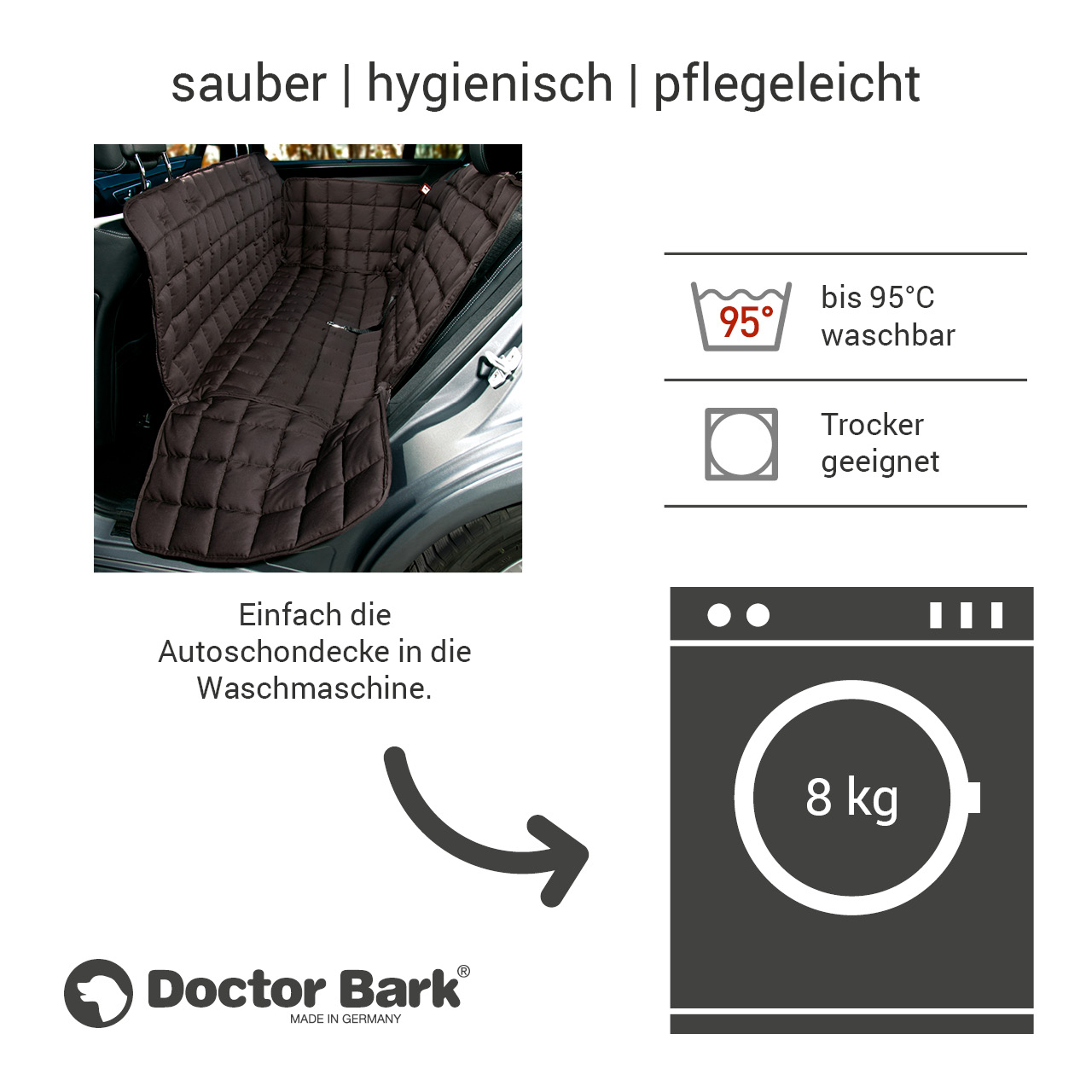 Doctor Bark - Autoschondecke für Hunde - Rückbank 3-Sitz Gr. L - braun