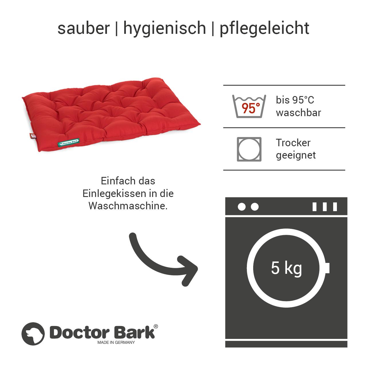 orthopädisches Einlegekissen für Doctor Bark Hundebett Gr. L - tomate rot