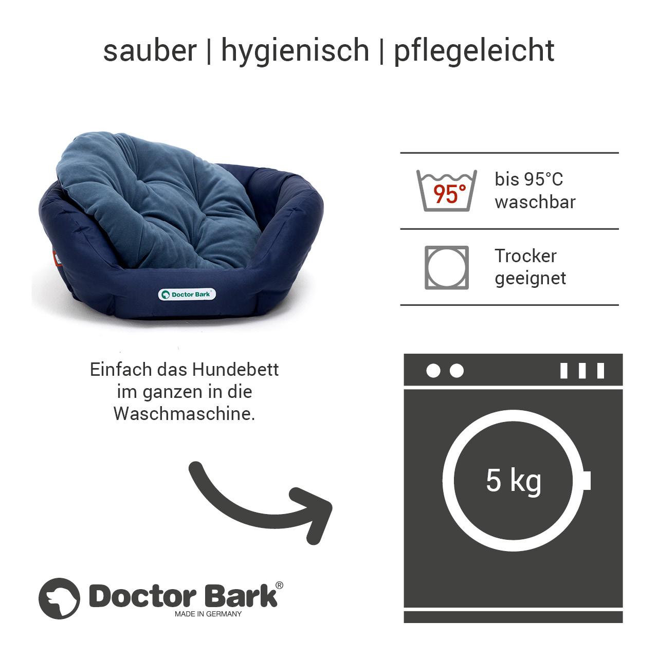 rundes Hundebett mit orthopädischem Wendekissen Doctor Bark Gr. M - königsblau blau