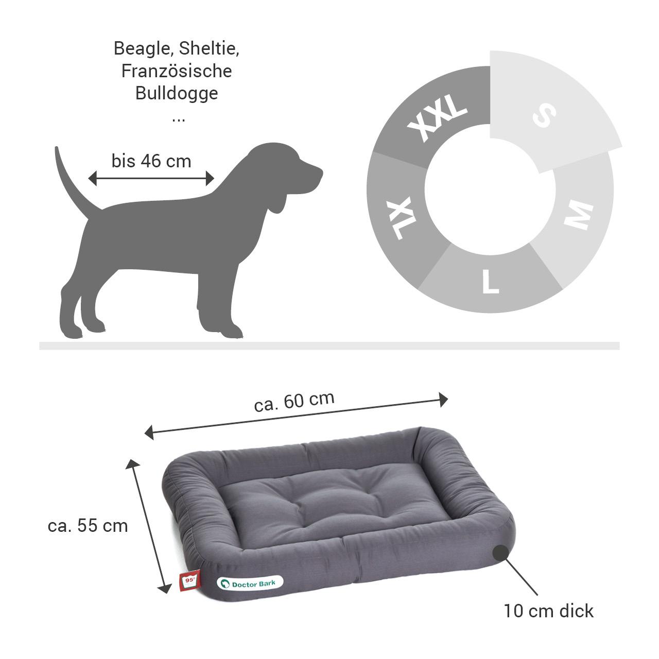Lounge-Hundekissen / Hundebett orthopädisch Doctor Bark waschbar grau - Gr. S