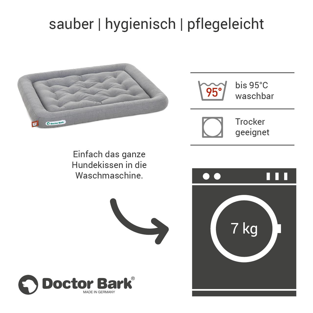 Lounge-Hundekissen / Hundebett orthopädisch Doctor Bark waschbar hellgrau - Gr. L