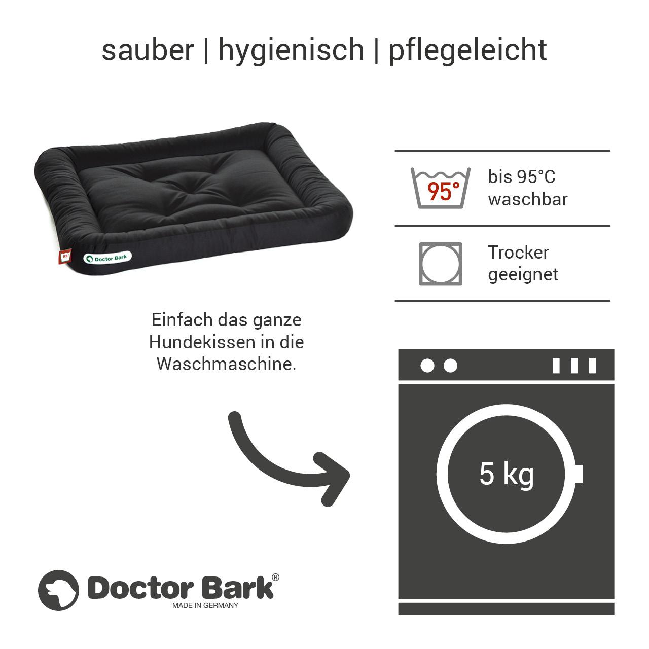 Lounge-Hundekissen / Hundebett orthopädisch Doctor Bark waschbar schwarz - Gr. M